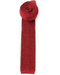 Cravatta lavorata a maglia bordeaux