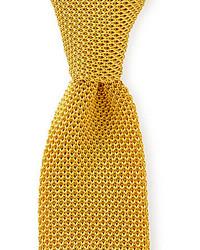 Cravatta lavorata a maglia gialla