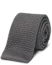 Cravatta lavorata a maglia grigia