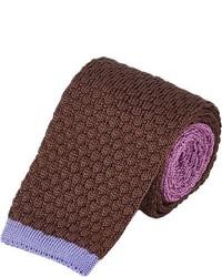 Cravatta lavorata a maglia marrone
