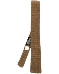 Cravatta lavorata a maglia marrone di Missoni