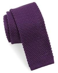 Cravatta lavorata a maglia melanzana scuro