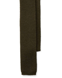 Cravatta lavorata a maglia verde oliva