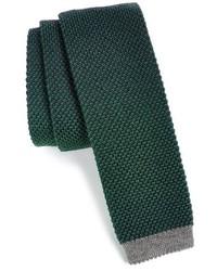 Cravatta lavorata a maglia verde scuro