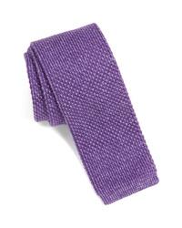 Cravatta lavorata a maglia viola