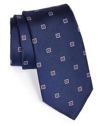 Cravatta ricamata blu scuro