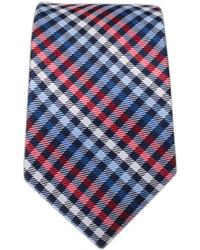 Cravatta scozzese bianca e rossa e blu scuro