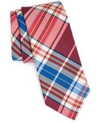 Cravatta scozzese rossa e blu scuro
