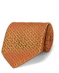Cravatta stampata arancione di Charvet