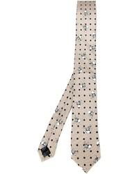 Cravatta stampata beige di Dolce & Gabbana
