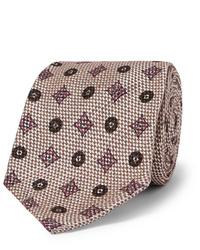 Cravatta stampata beige di Rubinacci