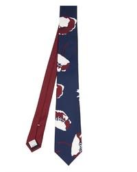 Cravatta stampata blu scuro e bianca