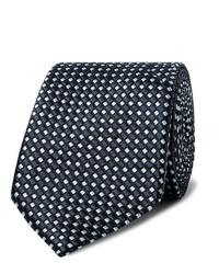 Cravatta stampata blu scuro e bianca di Giorgio Armani