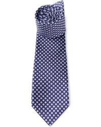 Cravatta stampata blu scuro e bianca di Kiton