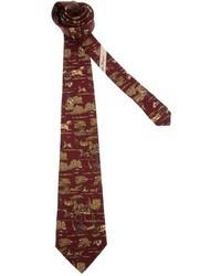 Cravatta stampata bordeaux di Salvatore Ferragamo