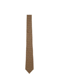 Cravatta stampata marrone chiaro di Gucci