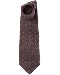 Cravatta stampata marrone scuro