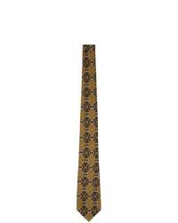 Cravatta stampata marrone di Gucci