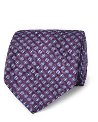 Cravatta stampata melanzana scuro di Canali