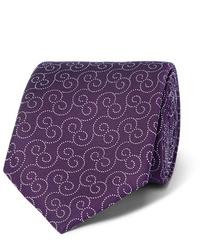 Cravatta stampata melanzana scuro di Charvet