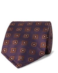 Cravatta stampata melanzana scuro di Drake's