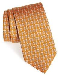 Cravatta stampata senape