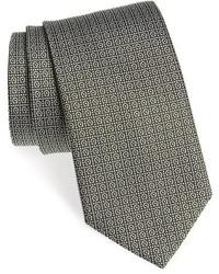 Cravatta stampata verde oliva