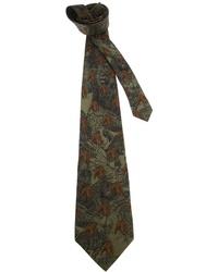 Cravatta stampata verde scuro
