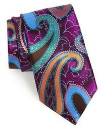 Cravatta stampata viola melanzana