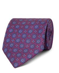 Cravatta stampata viola melanzana di Charvet