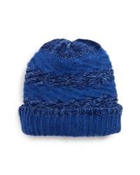 Cuffia lavorato a maglia blu