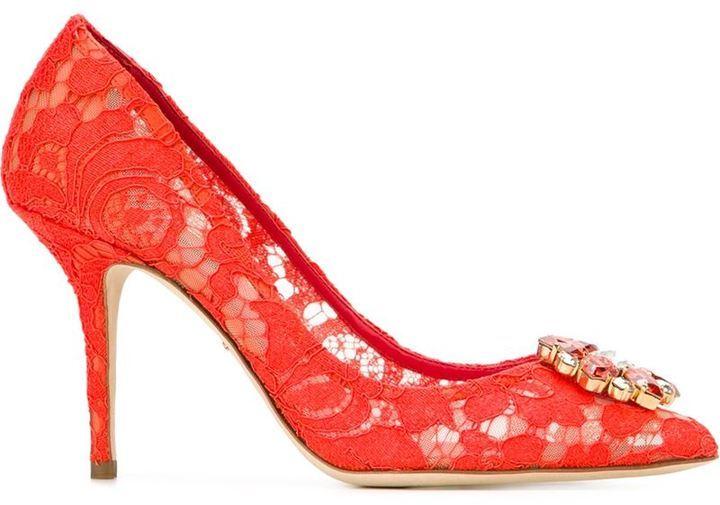 Décolleté in pelle scamosciata rossi di Dolce & Gabbana