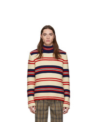 Dolcevita di lana a righe orizzontali bianco di Gucci