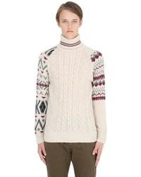 Dolcevita di lana lavorato a maglia beige