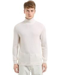 Dolcevita di lana lavorato a maglia bianco
