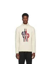 Dolcevita di lana lavorato a maglia bianco di Moncler Genius