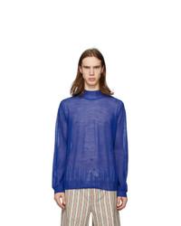 Dolcevita di lana lavorato a maglia blu