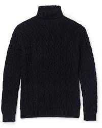 Dolcevita di lana lavorato a maglia blu scuro