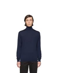 Dolcevita di lana lavorato a maglia blu scuro di Lanvin