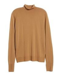 Dolcevita di lana lavorato a maglia marrone chiaro