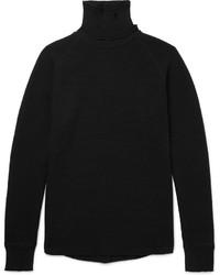 Dolcevita di lana lavorato a maglia nero