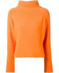 Dolcevita lavorato a maglia arancione