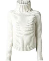 Dolcevita lavorato a maglia bianco