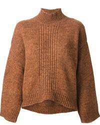 Dolcevita lavorato a maglia marrone