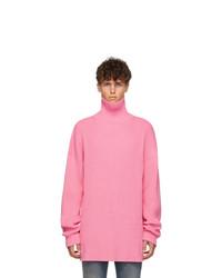 Dolcevita lavorato a maglia rosa