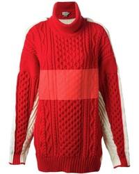 Dolcevita lavorato a maglia rosso