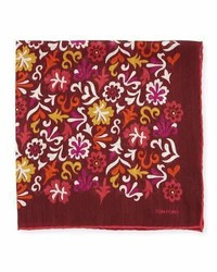 Fazzoletto da taschino a fiori bordeaux
