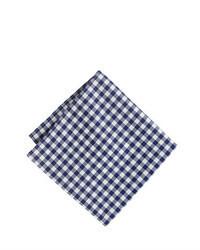 Fazzoletto da taschino a quadretti bianco e blu scuro