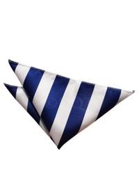 Fazzoletto da taschino a righe verticali bianco e blu scuro
