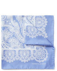 Fazzoletto da taschino con stampa cachemire azzurro